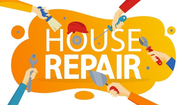 Transparent koncepcja naprawy domu. sprzęt do naprawy
