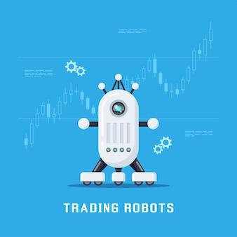 Transparent koncepcja robotów handlowych. handel giełdowy, forex i kryptowalutami