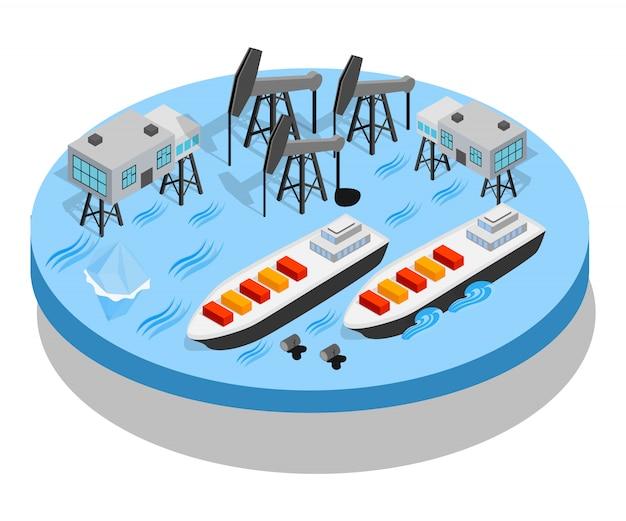 Transparent koncepcja ropy naftowej, izometryczny styl