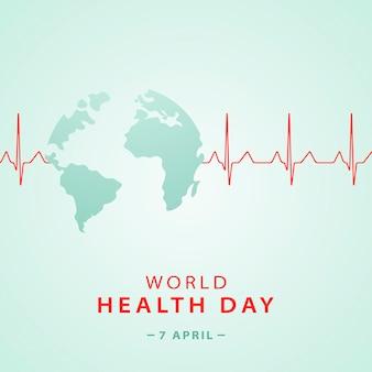 Transparent koncepcja światowego dnia zdrowia w kształcie planety ziemi i kardiogram serca