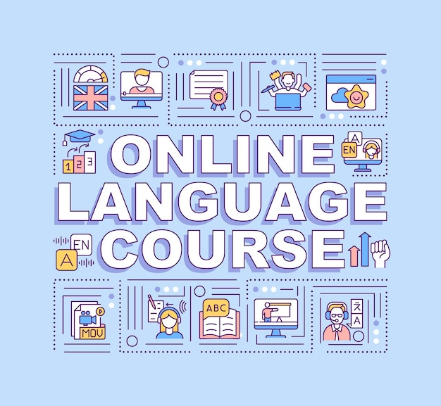 Transparent koncepcje słowne kursu językowego online. uczenie się nowych rzeczy z wykorzystaniem technologii. infografiki z liniowymi ikonami na niebieskim tle. typografia na białym tle. ilustracja