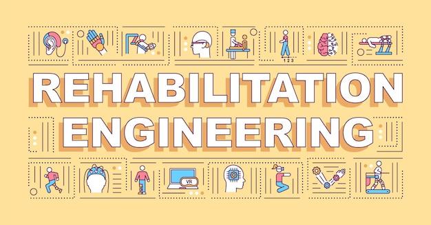 Transparent koncepcje słowo inżynierii rehabilitacji. rozwiązania dla osób niepełnosprawnych. infografiki z liniowymi ikonami. typografia na białym tle.