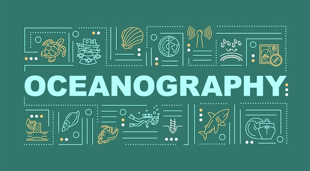 Transparent koncepcje słowo oceanografii. środowisko podwodne. nauka oceanologiczna. infografiki z liniowymi ikonami na zielonym tle. typografia na białym tle. ilustracja wektorowa konturu rgb