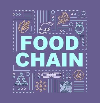 Transparent koncepcje słowo web żywności. proces metaboliczny, producenci i konsumenci. infografiki z liniowymi ikonami na fioletowym tle. typografia na białym tle. ilustracja wektorowa konturu rgb