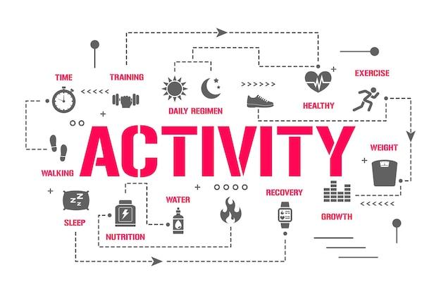 Transparent koncepcji słowa aktywności. sport, odżywianie, regeneracja. codzienne śledzenie aktywności. prezentacja, strona internetowa. pomysł na ui ux. typografia na białym tle napis z ikonami glifów. płaskie ilustracji wektorowych.