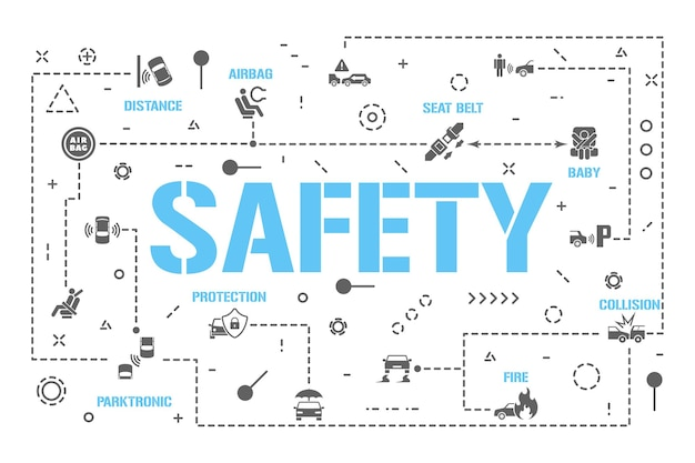 Transparent koncepcji słowa bezpieczeństwa. ubezpieczenie samochodu. ochrona kierowcy, infografiki pasażera dziecka. prezentacja, strona internetowa. pomysł na ui ux. typografia na białym tle napis z ikonami glifów. płaskie ilustracji wektorowych.
