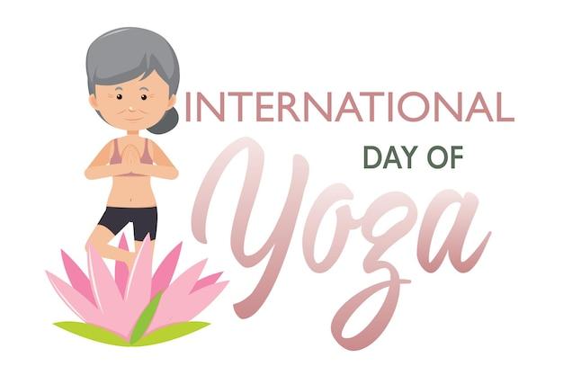 Transparent międzynarodowego dnia jogi ze staruszką robi pozę jogi
