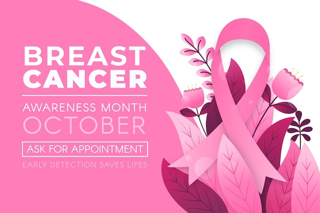 Transparent miesiąca świadomości raka piersi z liśćmi