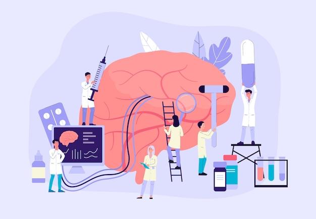 Transparent neurobiologii - ludzie z kreskówek prowadzący badania nad gigantycznym mózgiem za pomocą komputera i medycyny. laboratorium nauk farmaceutycznych z personelem medycznym - ilustracja.