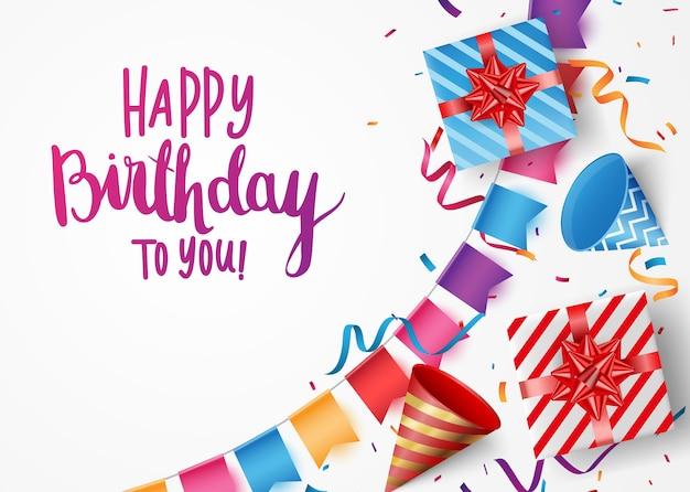 Transparent obchody urodzin z kolorowe konfetti i balony