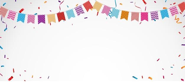 Transparent obchody urodzin z kolorowych flag trznadel