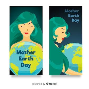 Transparent płaski dzień ziemi matki