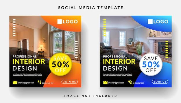 Transparent projektowanie wnętrz dla szablonu postu w mediach społecznościowych