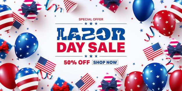 Transparent sprzedaż dzień pracy usa. święto pracy usa z flagą amerykańskich balonów. baner reklamowy promocji sprzedaży