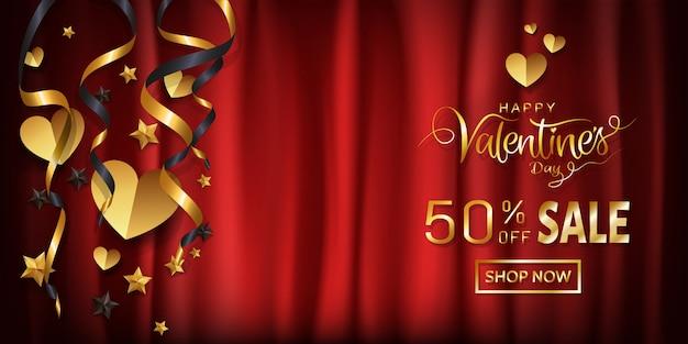 Transparent sprzedaży elegancji valentines, gold dekoracyjne z miejsca kopiowania.