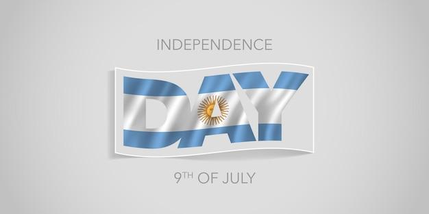 Transparent szczęśliwy dzień niepodległości argentyny. argentyński falisty projekt flagi na święto narodowe 9 lipca