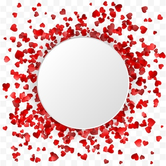 Transparent walentynkowy. serca okrągłe ramki transparent