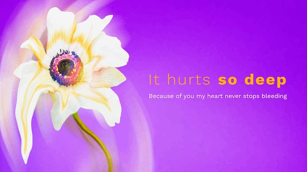 Transparent wektor kwiatowy szablon, psychodeliczny abstrakcyjny wzór z romantycznym cytatem