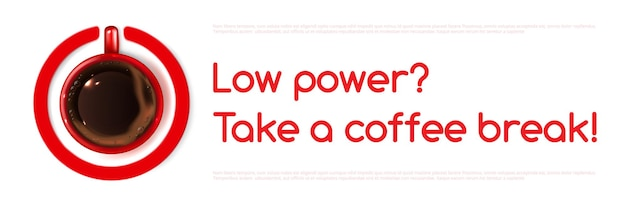 Transparent wektor mocy kawy z widokiem z góry kubek