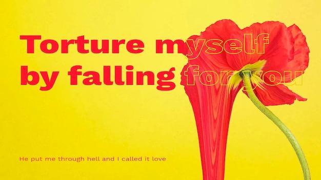 Transparent wektor szablon, estetyczny kwiat z romantycznym cytatem