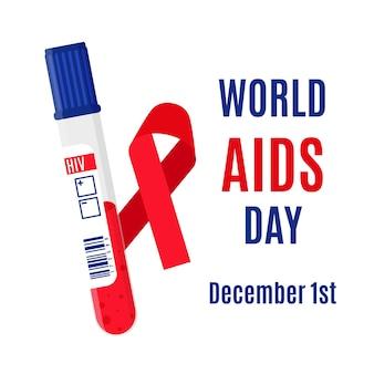 Transparent wektor z czerwoną wstążką, probówki z badaniem krwi na obecność wirusa hiv i napisem. 1 grudnia - światowy dzień aids.