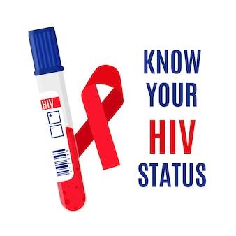 Transparent wektor z czerwoną wstążką, probówki z badaniem krwi na obecność wirusa hiv i napisem. poznaj swój status hiv.