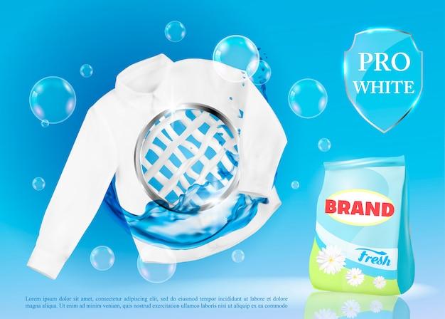 Transparent wektor z detergentem do prania.