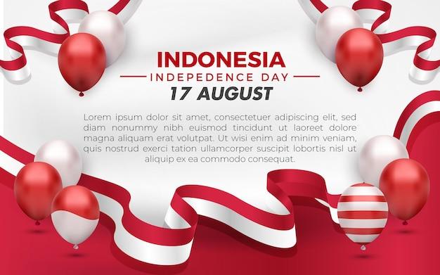 Transparent z życzeniami z okazji dnia niepodległości indonezji 17 sierpnia z czerwonym białym balonem