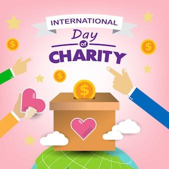 Transparent ziemi i serc z międzynarodowym dniem koncepcji dobroczynności.