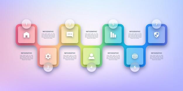 Transparentny szablon infografiki dla biznesu z siedmioma etykietami kroków