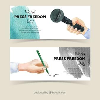 Transparenty akwarele dzień wolności prasy światowej