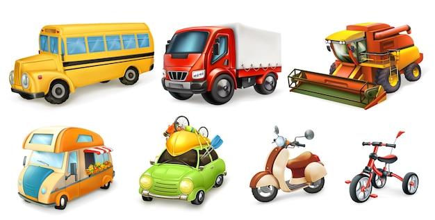 Transport 3d wektor zestaw ikon. rower, skuter, samochód, furgonetka, kombajn, ciężarówka, autobus
