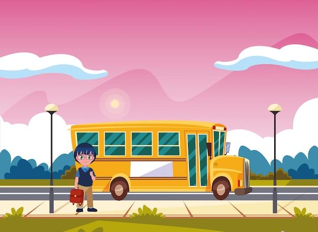 Transport autobusu studenckiego z powrotem do szkoły