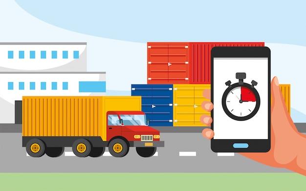 Transport ciężarowy i ręka z lokalizacją gps i usługą call center