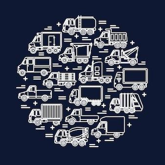 Transport Ciężarowy W Stylu Linii Na Okręgu Premium Wektorów