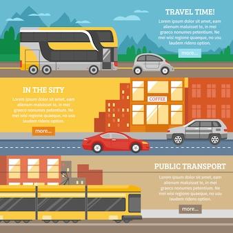 Transport dla miast i podróży banery