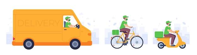 Transport dostaw żywności. kurier w masce dostarcza ciężarówkę, rower i motocykl. covid bezpieczne usługi transportowe do domu, koncepcja wektor. zostań w domu i zamów posiłek online, człowiek w innym pojeździe