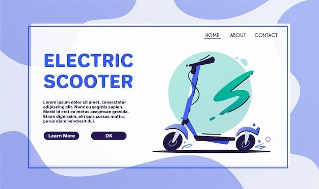 Transport ekologiczny. skuter elektryczny i rower na białym tle. ekologiczny transport miejski. kreskówka niebieski rower, elementy projektu hulajnogi