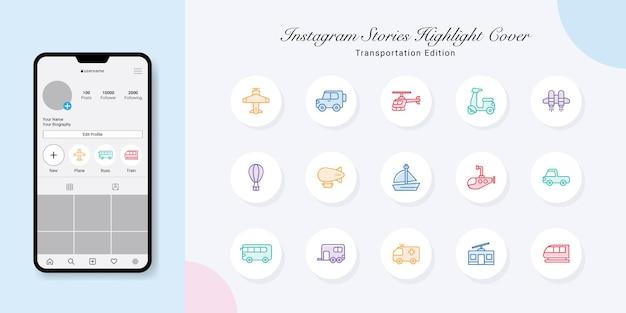 Transport historie na instagramie wyróżnij projekty okładek