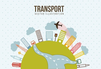 Transport i miasto styl vintage wektor illutration