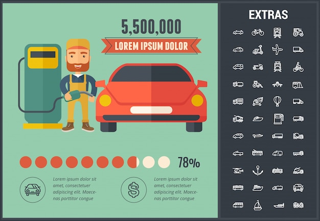 Transport infographic szablon i elementy