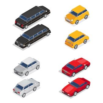 Transport izometryczny. limuzyna samochód. samochód sportowy. miasto samochodów.