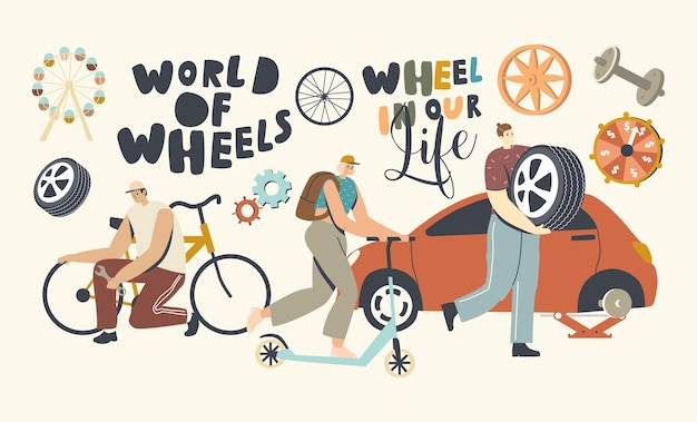 Transport kołowy w koncepcji ludzkiego życia. postacie męskie i żeńskie naprawiające rower, jeżdżące na hulajnodze, wymieniające opony w samochodzie, nowoczesne technologie transportowe. ilustracja wektorowa ludzi liniowych