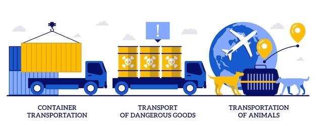 Transport kontenerowy, transport towarów niebezpiecznych, koncepcja transportu zwierząt z małymi ludźmi. dystrybucja frachtu streszczenie wektor zestaw ilustracji. metafora transportu ładunków niebezpiecznych.