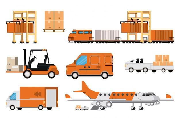 Transport ładunków logistycznych kreskówka