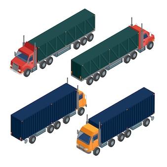 Transport ładunków przyczepa ciężarowa. ciężarówka dostawcza. transport logistyczny