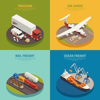 Transport ładunków, w tym transport morski i kolejowy towarowy transport lotniczy izometryczny