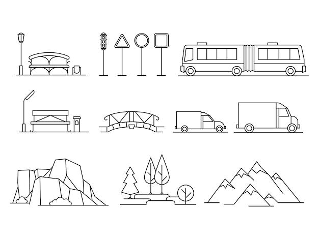 Transport liniowy, zestaw isonów krajobrazowych