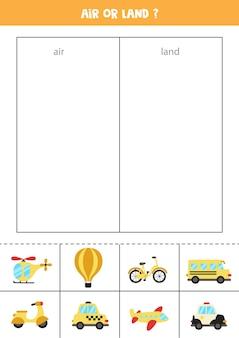 Transport lotniczy lub lądowy. dopasuj karty do środków transportu. gra logiczna dla dzieci.