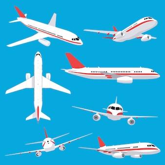 Transport lotniczy. pasażerski samolot odrzutowy, pojazdy lotnicze, zestaw ikon ilustracji latających linii lotniczych. lotnictwo lotnicze, trip jet, transport lotniczy skrzydłami